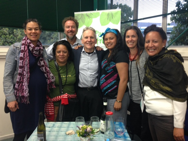 I, Eric Lombardi, meeting with Zero Waste New Zealand founder, Warren Snow, and several Maori leaders at the New Zealand Community Recycling Network Conference.
