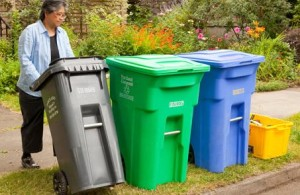 Taking out the trash, compost and recycling bins