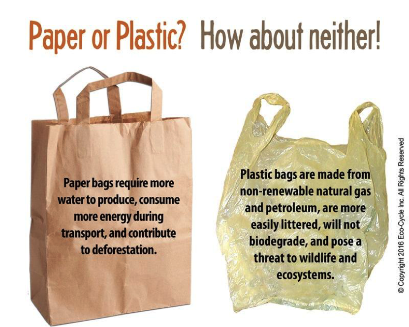 Both paper and plastic bags negatively impact our environment. Charging a fee on all bags will reduce their overall use and help move your community toward Zero Waste.