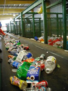 Recyclable materials on a conveyor belt