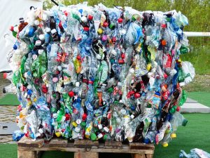 Bale of plastic bottles to be recycled